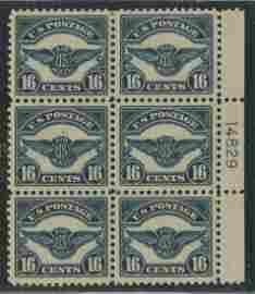 USA 1923 #C5 16c Dark Blue Block of 6 MNH/MLH