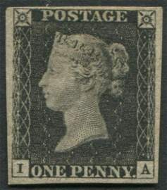 Great Britain 1840 #1 1 Penny Black  Pl 6 VF