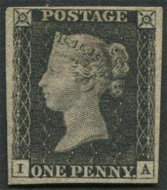 Great Britain 1840 #1 1 Penny Black  Pl 6 VF