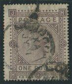 Great Britain 1878 #75 1 Pound Brown Lilac U F
