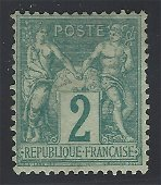 France 1876 #65 2c Green Greenish F UN