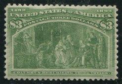 USA 1893 #243 $3 Yellow Green VF MNH