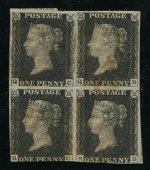 Great Britain 1840 #1 1 Penny Black Block of 4 U F-VF