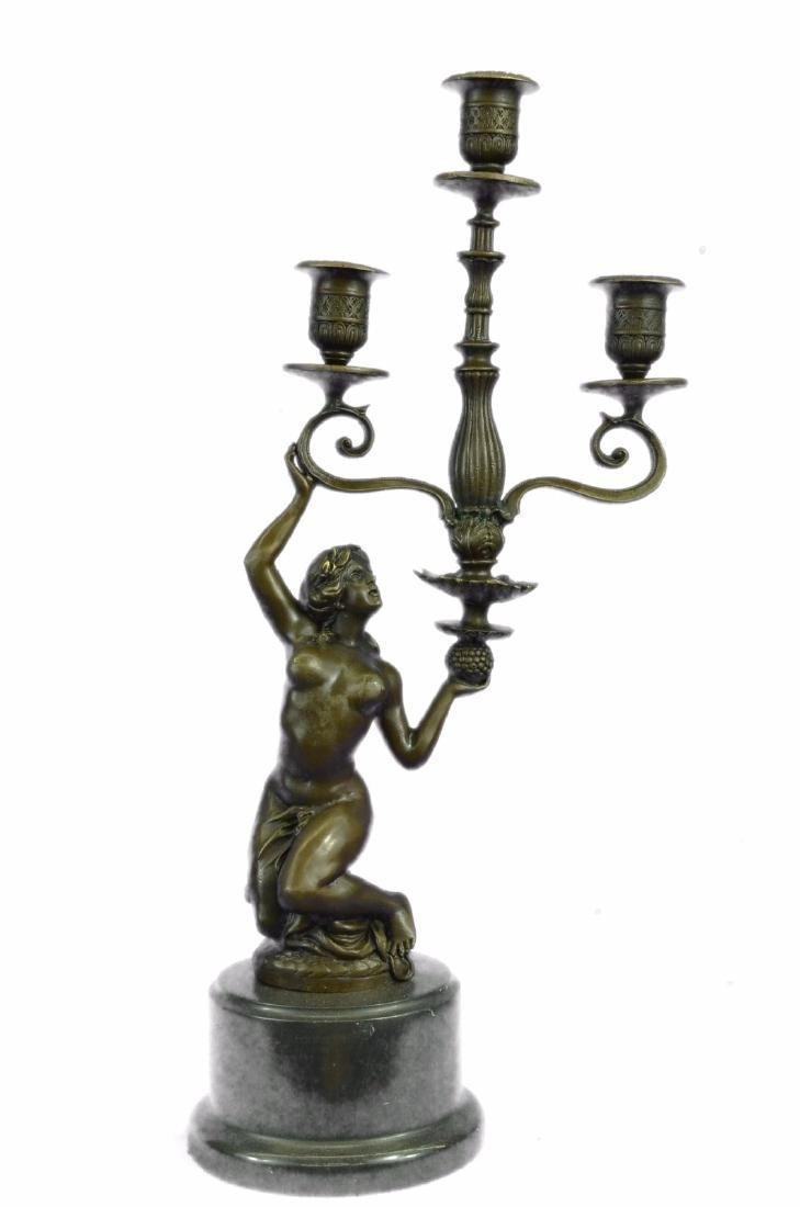 Erotic Nude Girl Candleholder Bronze Sculpture