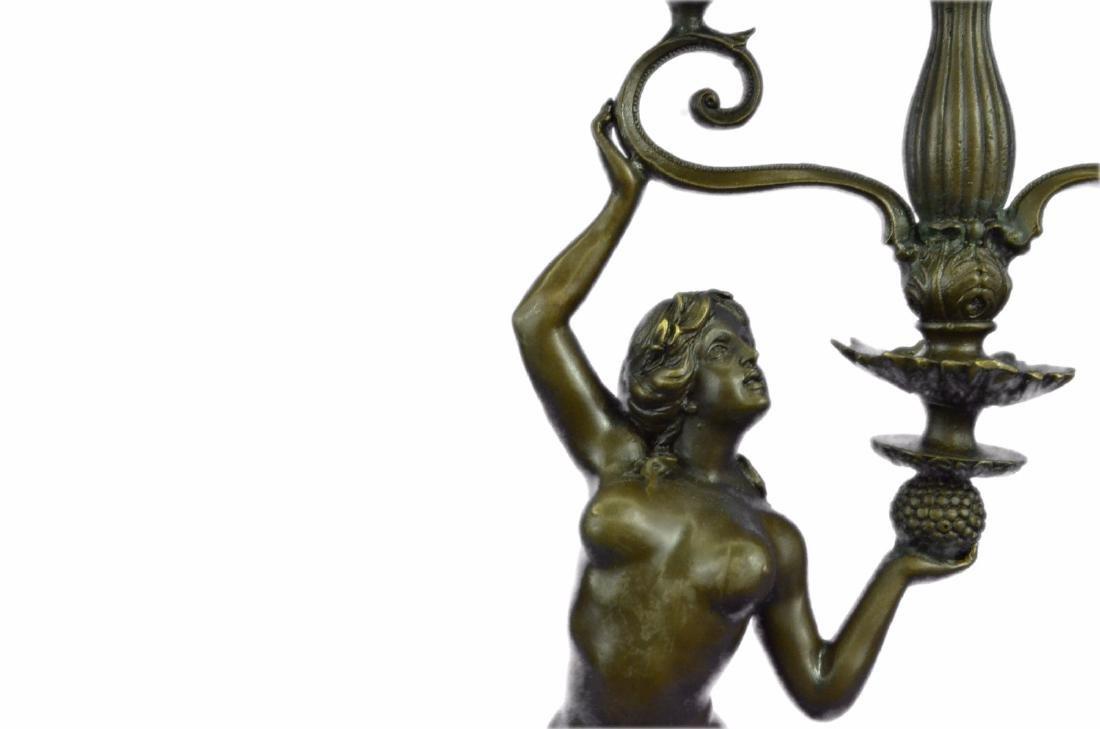 Erotic Nude Girl Candleholder Bronze Sculpture - 2