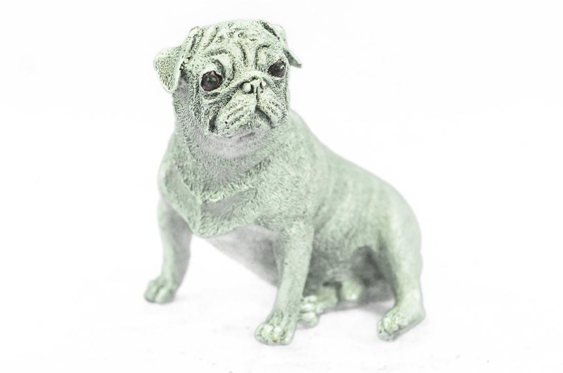 White Patina Miniature Pug Dog Bronze Sculpture