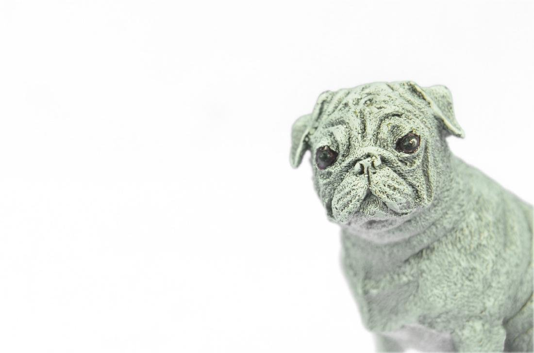 White Patina Miniature Pug Dog Bronze Sculpture - 2