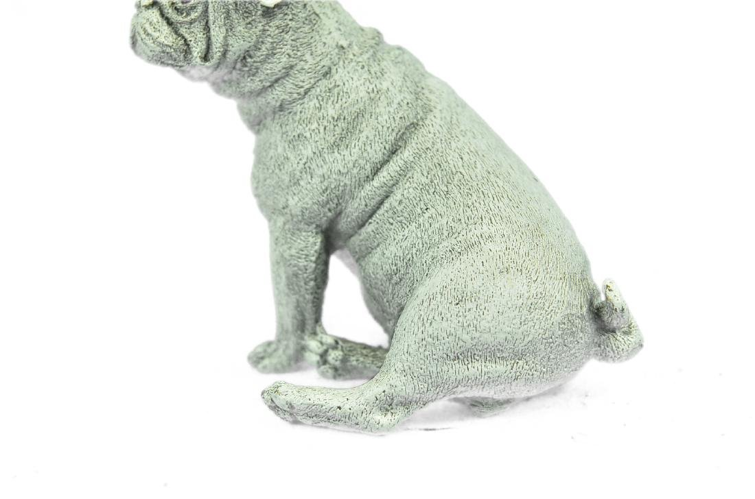 White Patina Miniature Pug Dog Bronze Sculpture - 3