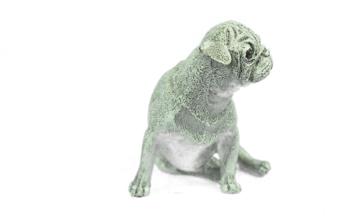 White Patina Miniature Pug Dog Bronze Sculpture - 5