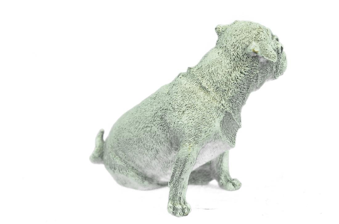 White Patina Miniature Pug Dog Bronze Sculpture - 6