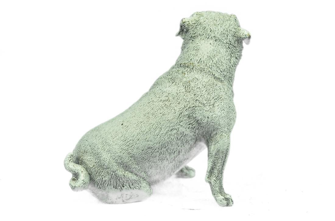 White Patina Miniature Pug Dog Bronze Sculpture - 7