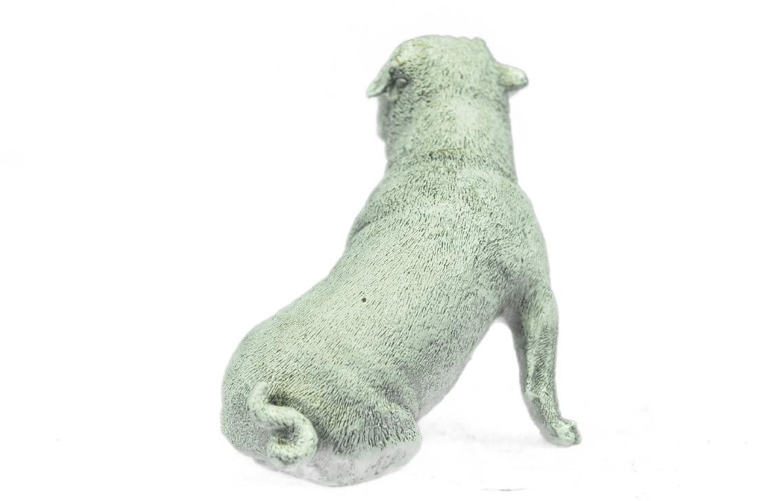 White Patina Miniature Pug Dog Bronze Sculpture - 8