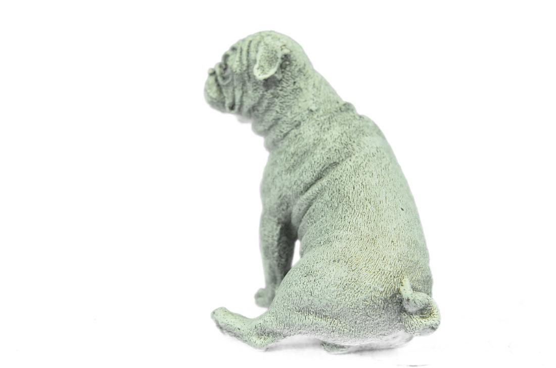 White Patina Miniature Pug Dog Bronze Sculpture - 9