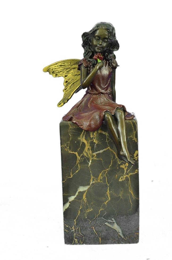 Valentine Angel Holding Flower Bronze Figurine