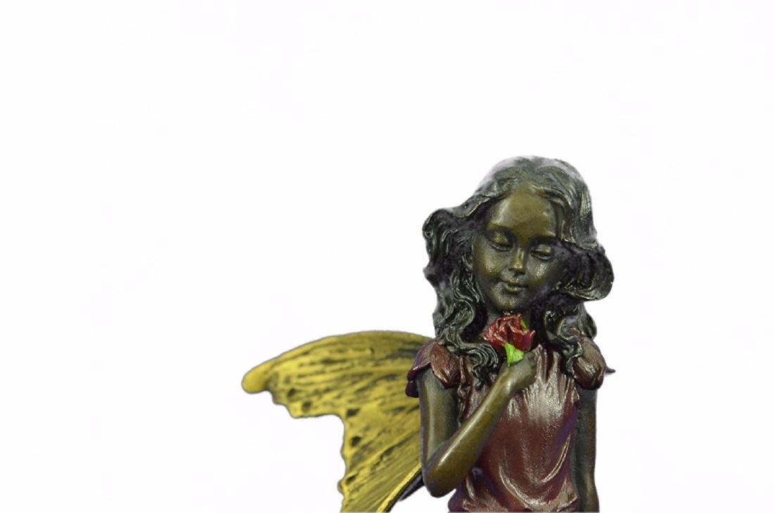 Valentine Angel Holding Flower Bronze Figurine - 2