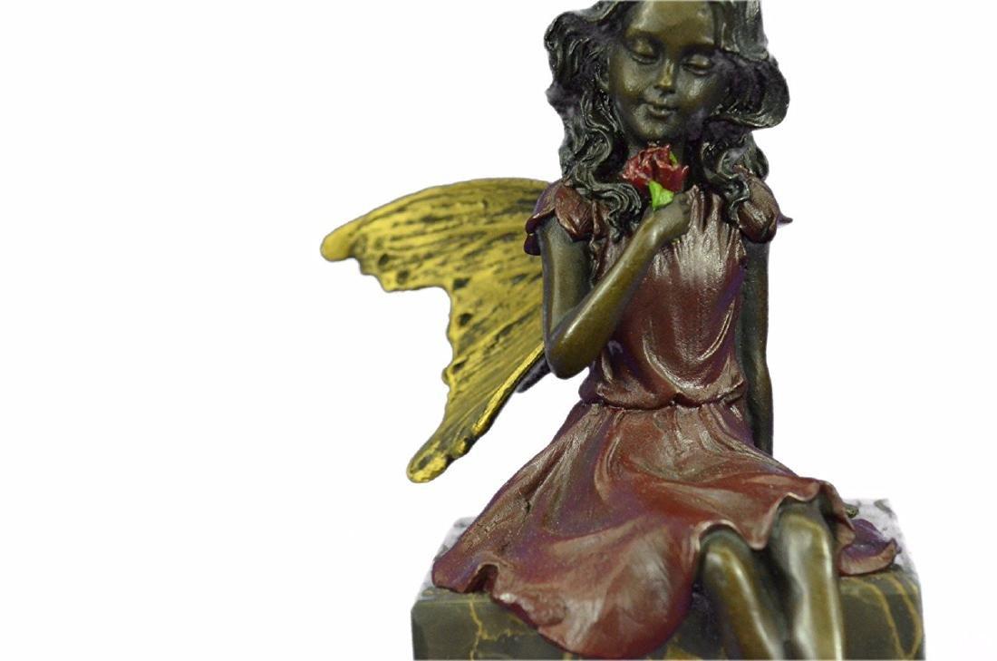 Valentine Angel Holding Flower Bronze Figurine - 3