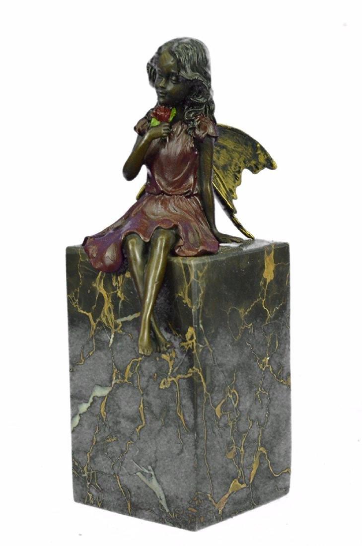 Valentine Angel Holding Flower Bronze Figurine - 4