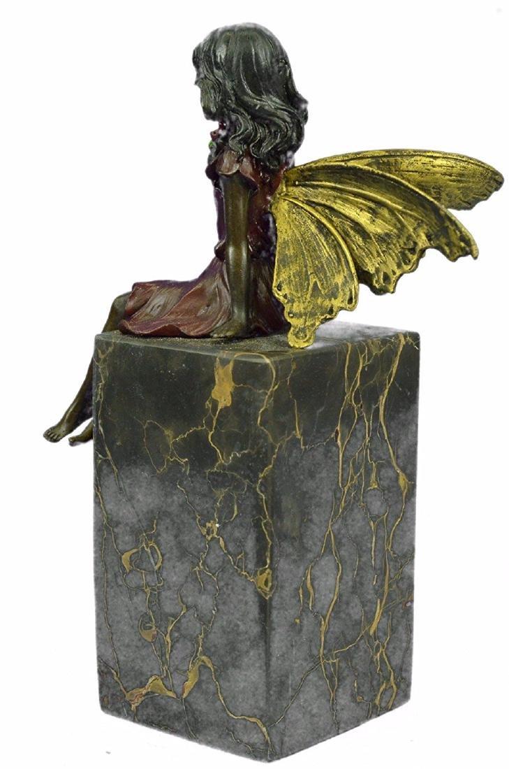 Valentine Angel Holding Flower Bronze Figurine - 5