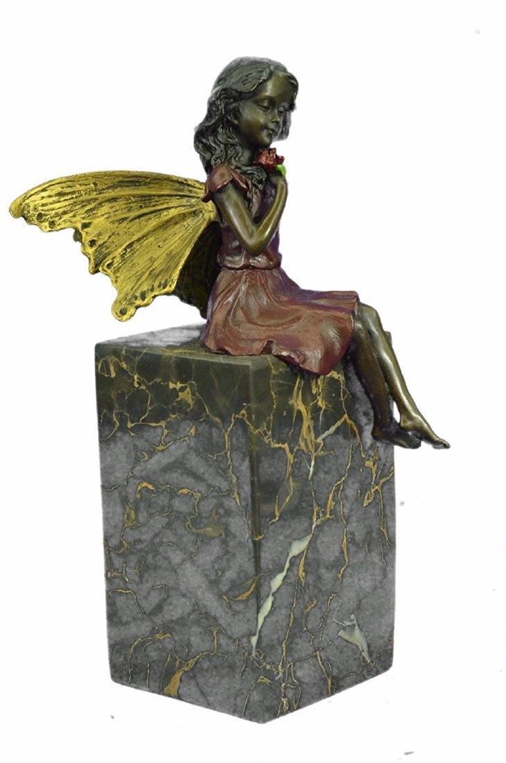 Valentine Angel Holding Flower Bronze Figurine - 7
