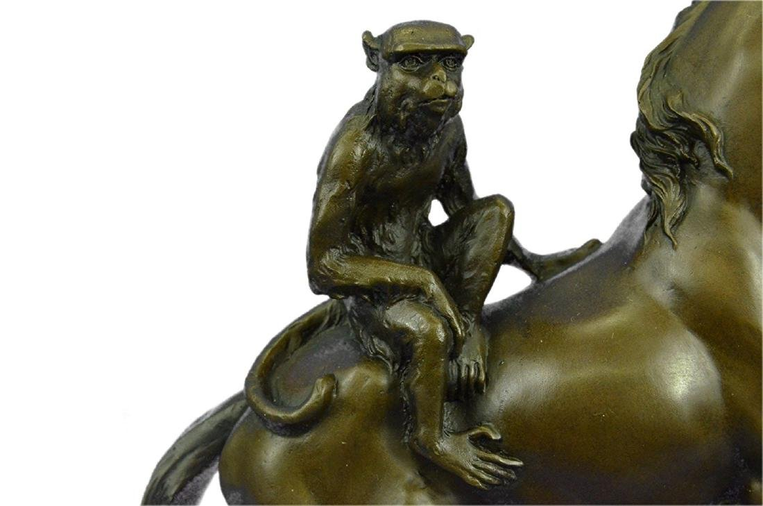 Monkey Sit on Horse Bronze Statue - 2