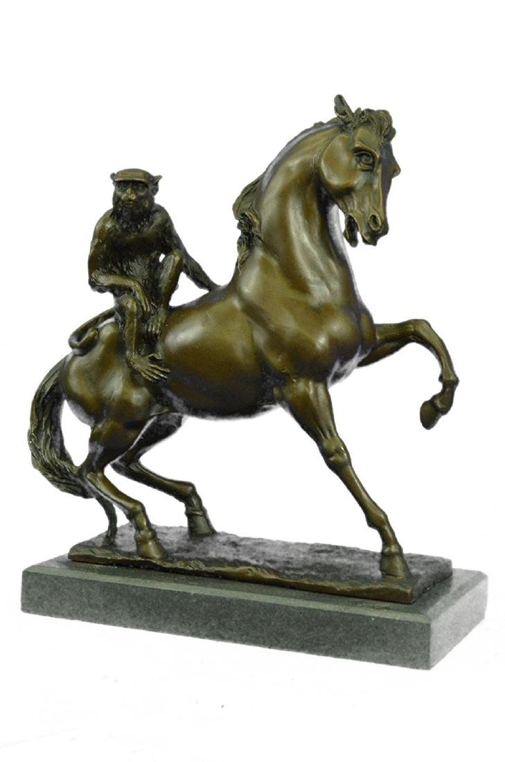 Monkey Sit on Horse Bronze Statue - 5