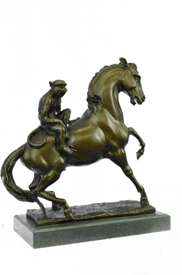 Monkey Sit on Horse Bronze Statue - 6
