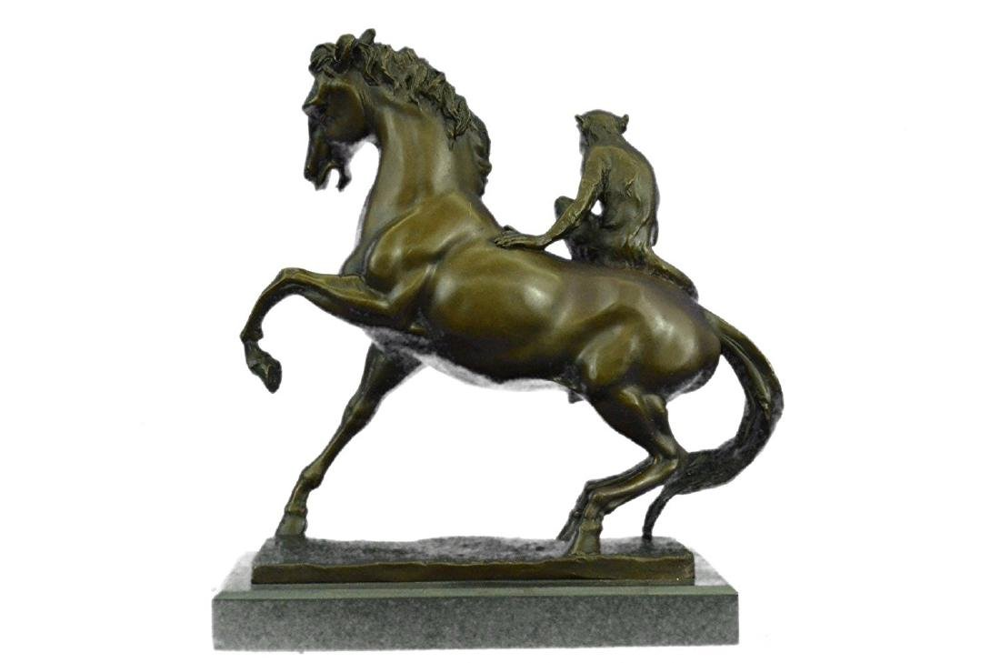 Monkey Sit on Horse Bronze Statue - 7