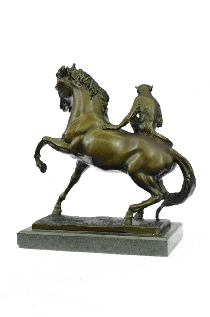 Monkey Sit on Horse Bronze Statue - 8