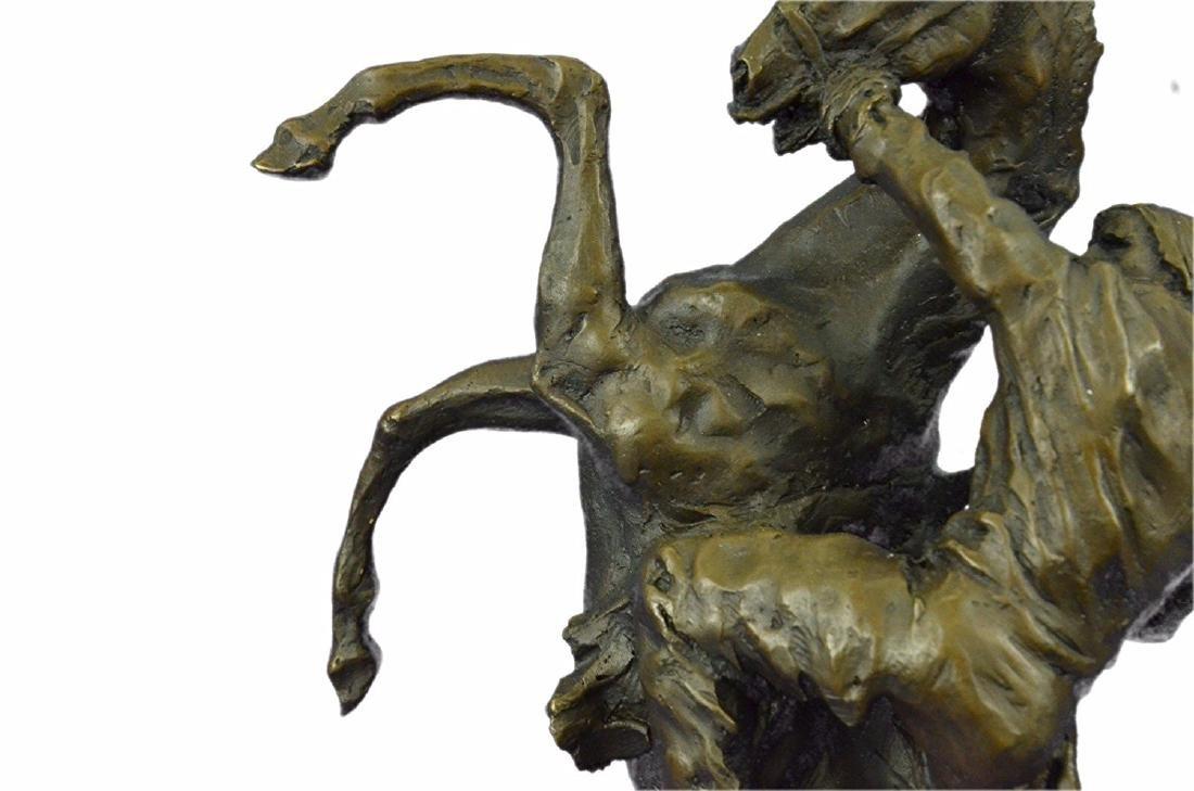 Country Western Cowboy Horse Ranch Bronze Sculpture - 4