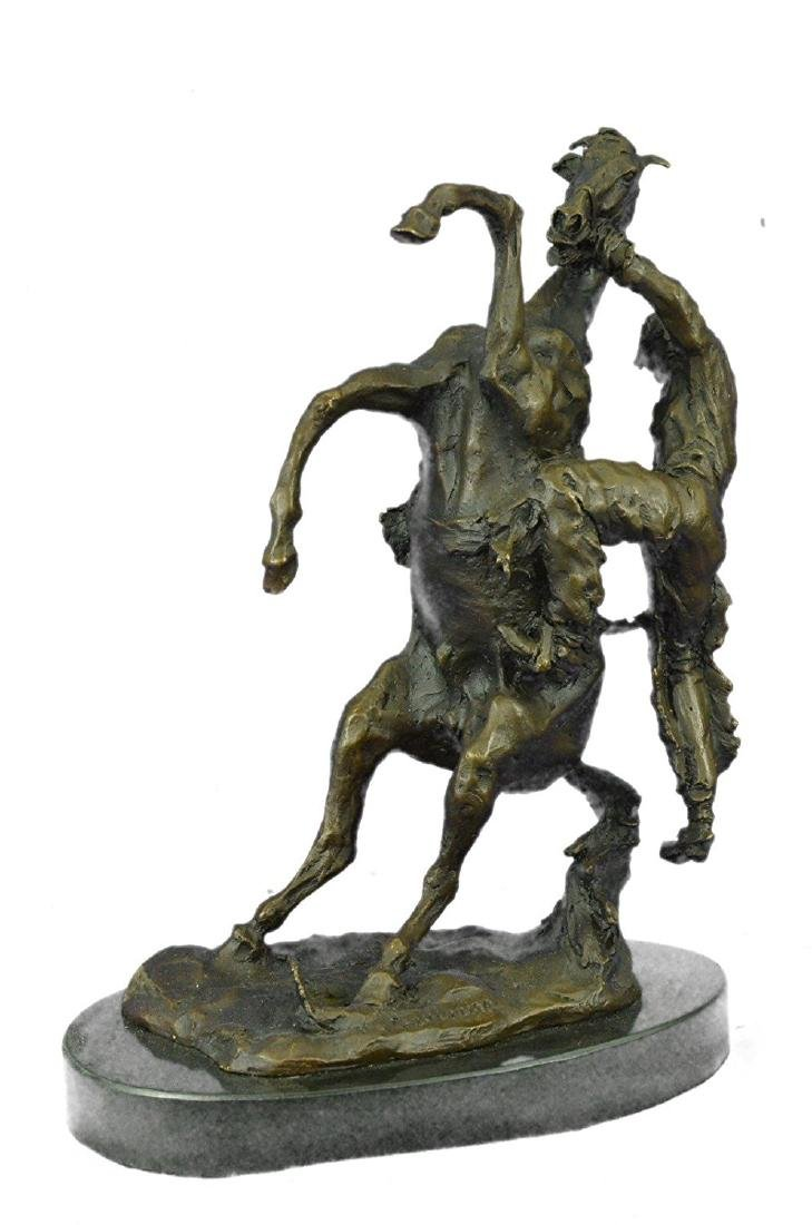 Country Western Cowboy Horse Ranch Bronze Sculpture - 5