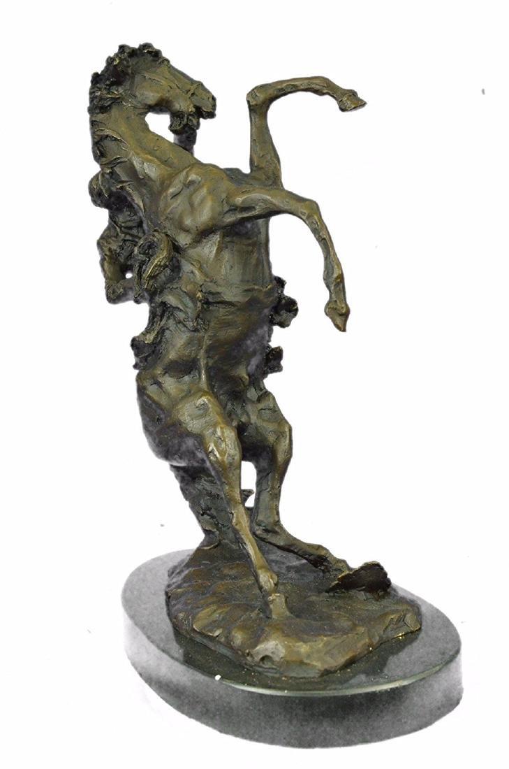 Country Western Cowboy Horse Ranch Bronze Sculpture - 7