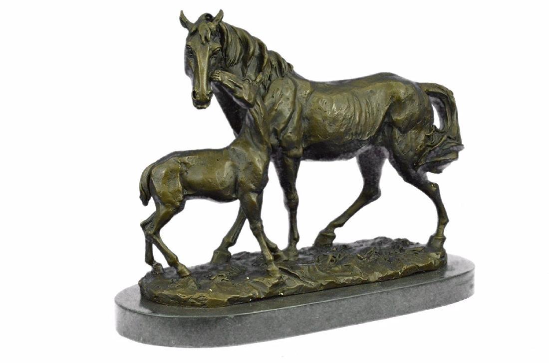 Horse Farm Bronze Sculpture on Marble Base Figurine