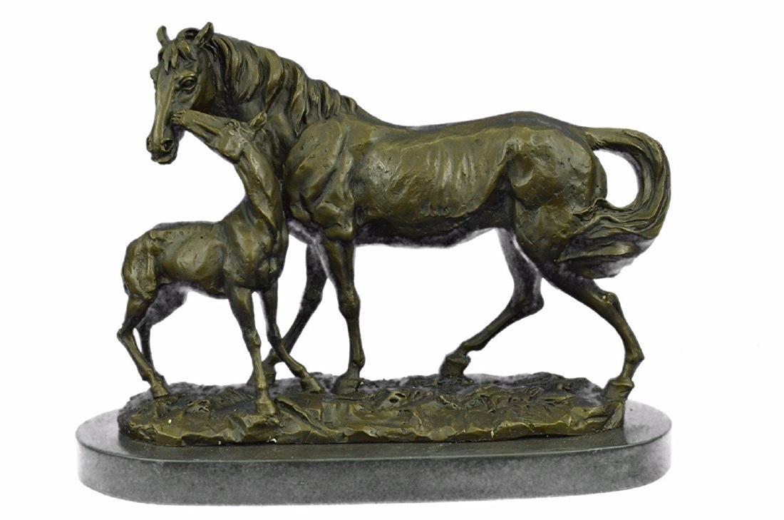 Horse Farm Bronze Sculpture on Marble Base Figurine - 5