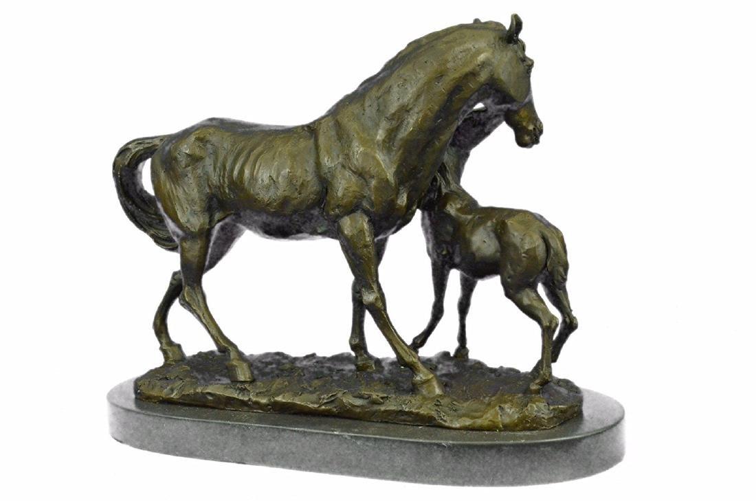 Horse Farm Bronze Sculpture on Marble Base Figurine - 6