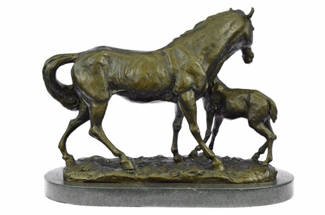 Horse Farm Bronze Sculpture on Marble Base Figurine - 7