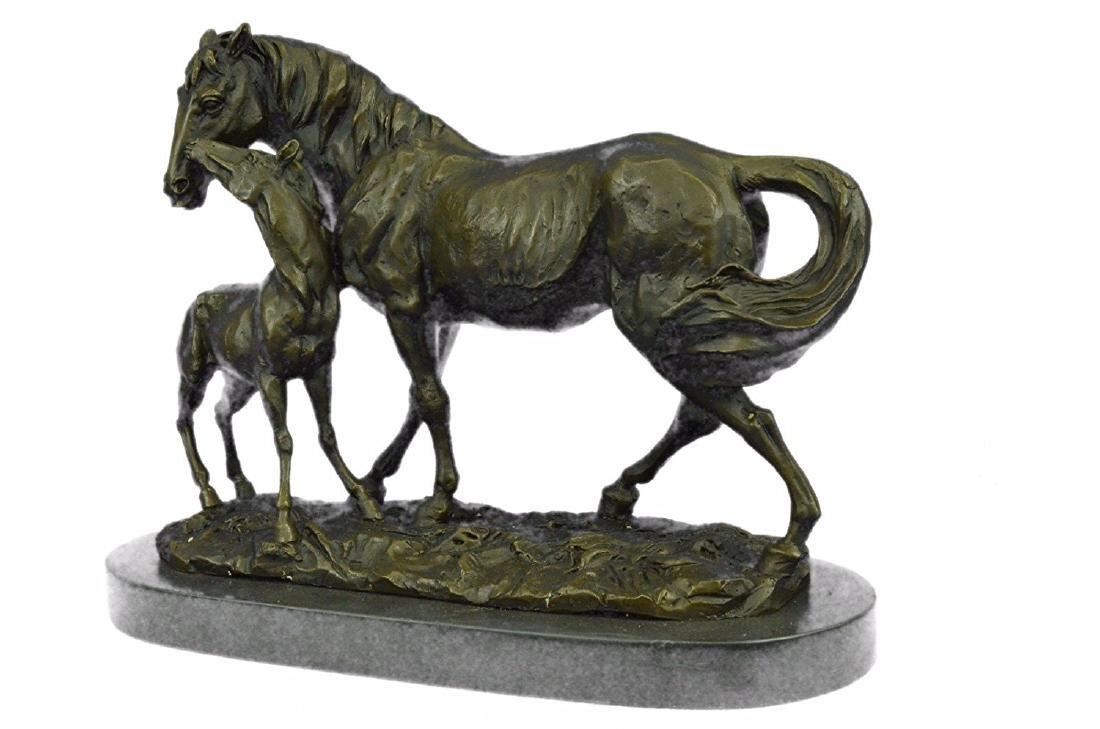 Horse Farm Bronze Sculpture on Marble Base Figurine - 9