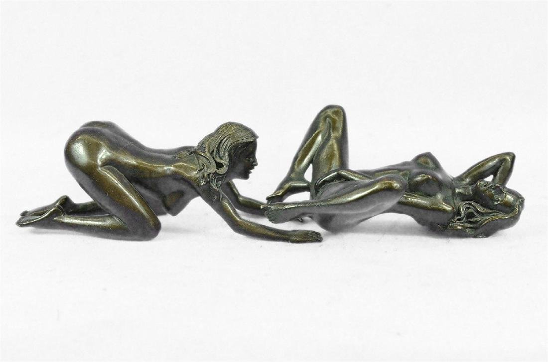 Two Piece Erotic Girls Making Love Bronze Statue