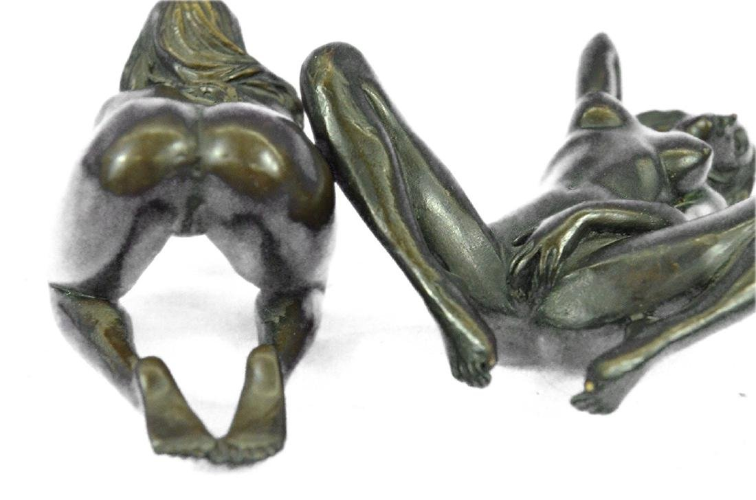 Two Piece Erotic Girls Making Love Bronze Statue - 4