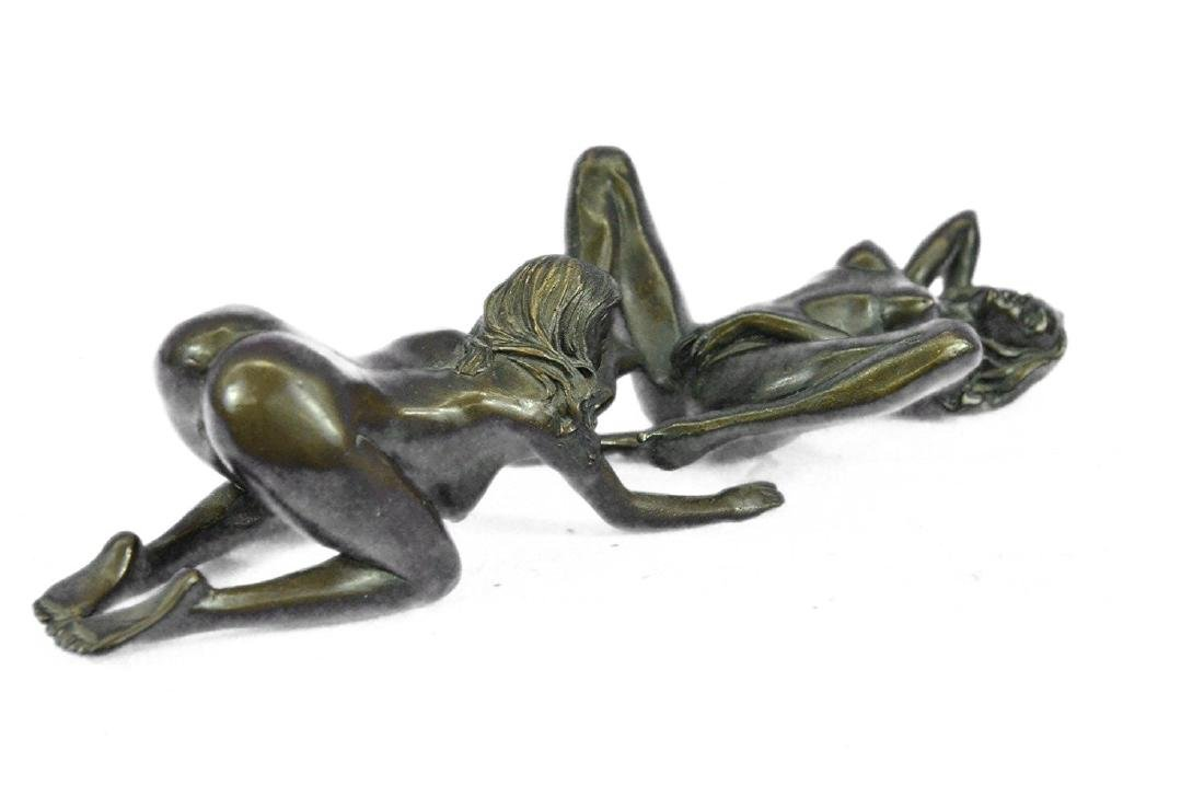 Two Piece Erotic Girls Making Love Bronze Statue - 9