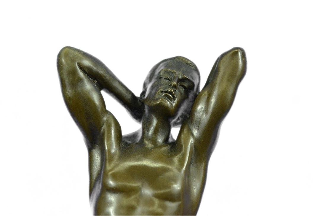 Gay Art Nude Male Bronze Statue on Marble Base - 2