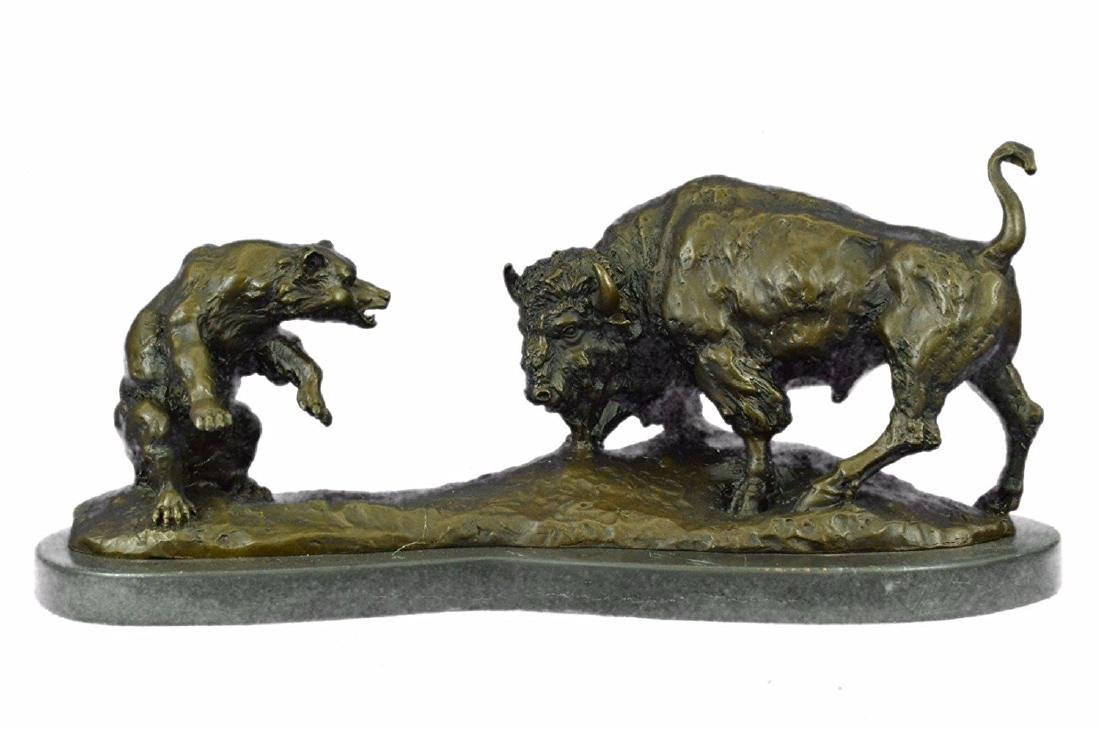 American Buffalo Bronze Statue on Marble Base Sculpture