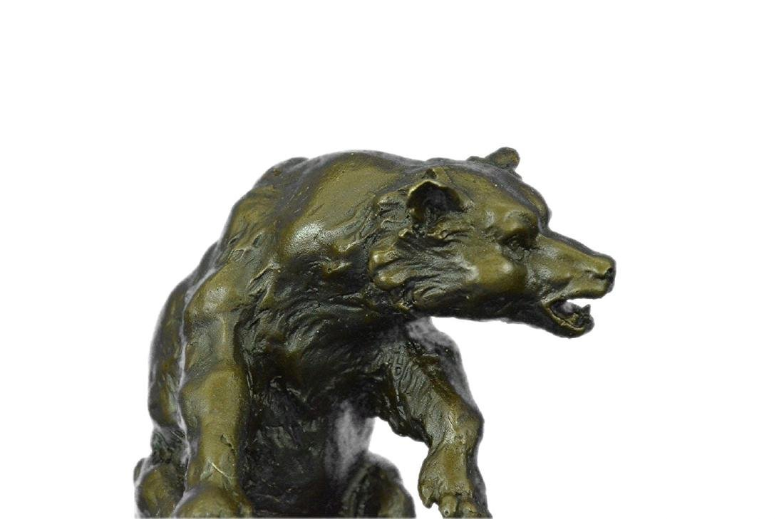 American Buffalo Bronze Statue on Marble Base Sculpture - 2