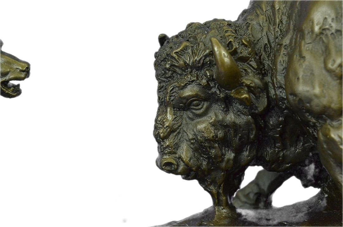 American Buffalo Bronze Statue on Marble Base Sculpture - 3