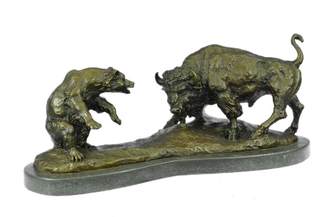 American Buffalo Bronze Statue on Marble Base Sculpture - 4