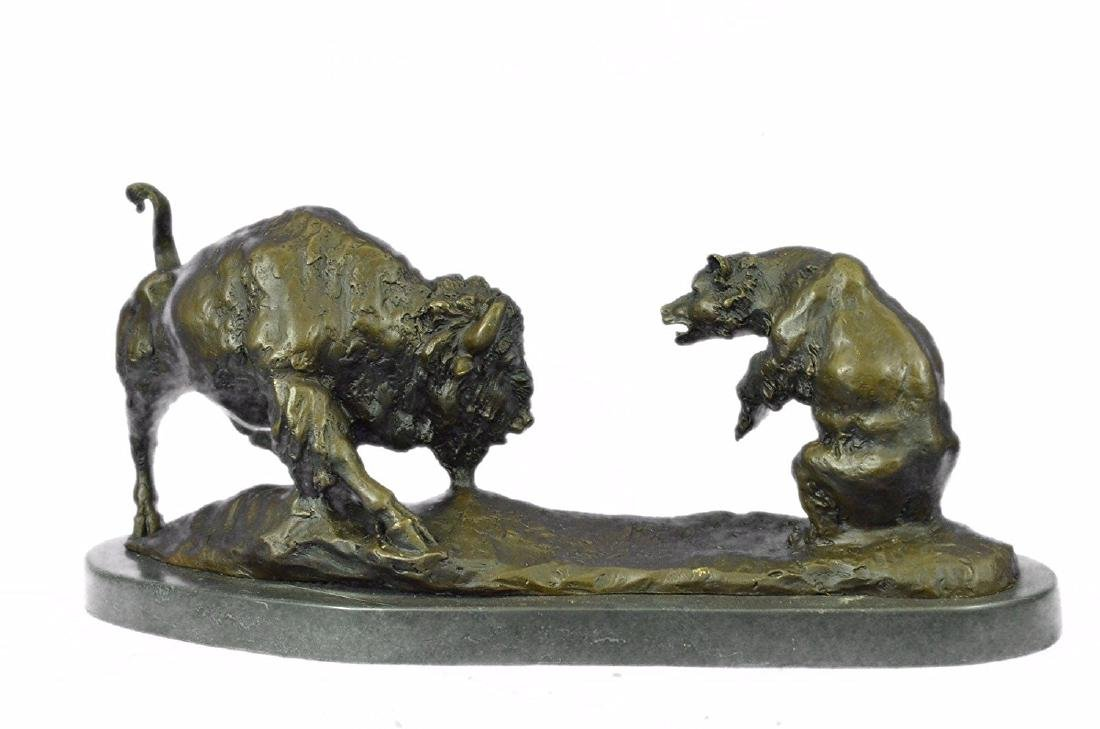 American Buffalo Bronze Statue on Marble Base Sculpture - 5