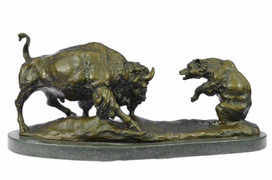 American Buffalo Bronze Statue on Marble Base Sculpture - 6