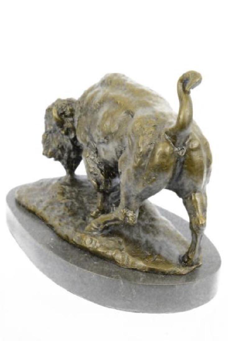 American Buffalo Bull Bronze Sculpture on Marble Base - 4