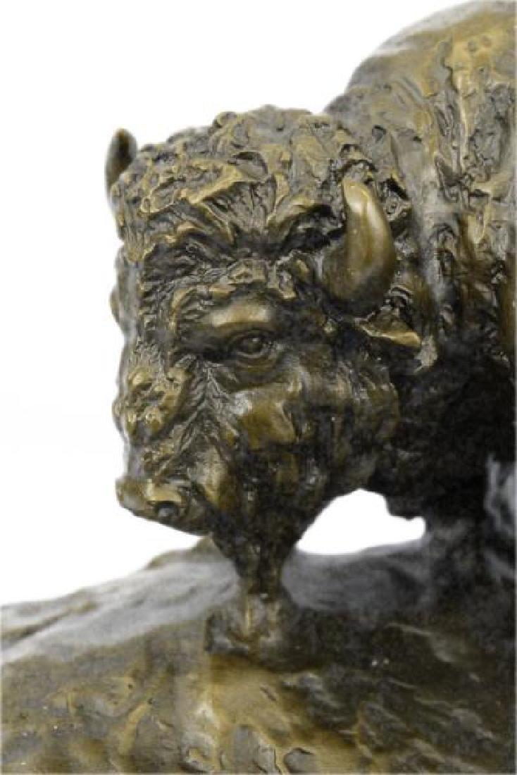 American Buffalo Bull Bronze Sculpture on Marble Base - 5