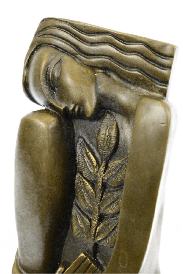 Woman Marble Base Bronze Figurine - 2