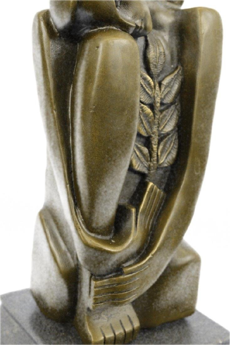 Woman Marble Base Bronze Figurine - 3